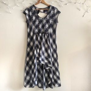 Free People Blue Check High Low hem dress medium